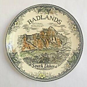 Vintage Badlands travel souvenir plate Japan black transferware