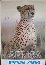 PAN AMERICAN AIRLINES AFRICA 1970 Vintage TRAVEL poster 25x36