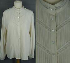 Vintage Laura Ashley Silk Lace Blouse Pleat Front Victorian Steampunk Edwardian