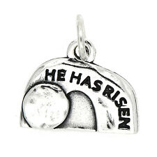 STERLING SILVER HE HAS RISEN JESUS EMPTY TOMB CHARM PENDANT