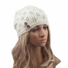 Fashion Women Winter Warm Beret Braided Baggy Knit Crochet Beanie Hat Ski Cap