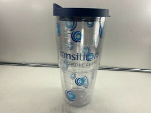"Tervis Clear Tumbler Cup ""Transitions Adaptive Lenses"" 24oz Navy Lid!!!"