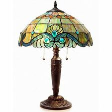Tiffany Style Pearl Vintage Table Lamp 2 Light Pull Chain