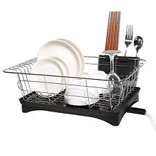 Rustproof Stainless Steel Metal Wire Medium Dish Drainer Drying Rack Kitchen Cup