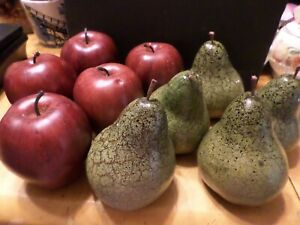 Lot 10 pieces of Faux Fruit - 5 Apples - ?wood  and 5 Pears -styrofoam