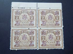BLOCK OF FOUR (4)  U S MNH IRS STOCK TRANSFER TAX stamps off paper2 CENTS