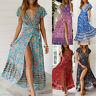 Boho Summer Women Wrap Floral Paisley Print Maxi Dress Holiday Beach Dresses