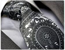 GREY & WHITE PAISLEY SILK TIE - ITALIAN DESIGNER Milano Exclusive