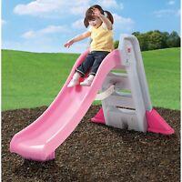 Step2 Big Folding Slide, Pink, Plastic Slide and High-Side Rails Kids Fun Toy