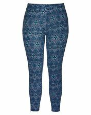 Autograph Blue tile print thick stretchy leggings Pants XL 24 26 ZIP bottom cuff