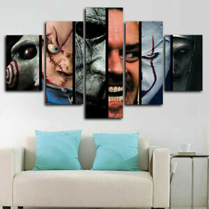 Horror Movie Scary Character Movie Canvas Prints Painting Wall Art Home Decor 5P