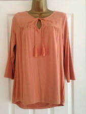 BNWT M&S Ladies Per Una Peach 3/4 Sleeve Embroidered Top Size 16 RRP £25