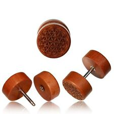 PAIR ROSE WOOD FAKE INLAY SEED OF LIFE CHEATER PLUGS 18g PLUG 00G HEADS GAUGES