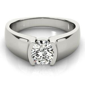 1.16 Ct Vvs1>Round Cut Near White Moissanite Diamond Engagement Ring 925 Silver