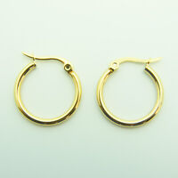 18k yellow Gold plated huggie hoop 20mm sleeper earrings Non-allergenic AUS MADE