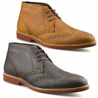 Mens New Leather Casual Smart Chelsea Dealer Work Ankle Brogue Boots Shoes Size