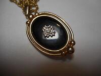 2 Sided 14kgp Vintage Pendant Rhinestone Black Enamel Necklace Signed AVON