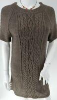 Stone Brown Cable Twist Wool Mix Knit Jumper Dress UK 12 EU 40 US 8 Boho Hippy