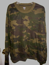 MENS T-shirt GREEN camo camoflage SIZE LARGE long sleeve POCKET T11