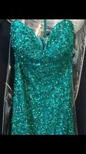 Scala Emerald/Jade Green, Strapless Sequin/Beaded Prom/Cocktail/Formal Gown Sz8