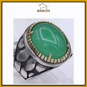 COCKTAIL JADE RING STERLING SILVER & 18K GOLD HAND MADE IN ITALY  RING SIZE 6.25
