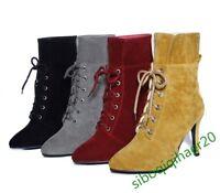 Ankle Boots New Fashion Ladies Party Elegant Stilettos Retro Leisure Shoes Size6