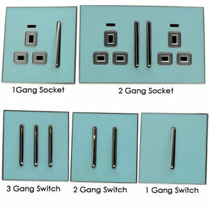 1 2 3 Gang Wall Socket switches Blue Finish10 Amp Screw less Neon Indicator 13A