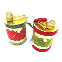Vintage Lot of 2 Christmas Flocked Felt Drum Ornament Red Green Gold