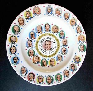 "Presidents Washington thru Nixon 10"" Collector Plate 1960s FREE SH"