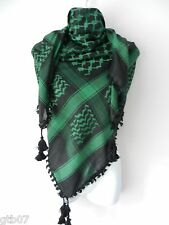 Green Black Arab Shemagh Head Scarf Neck Wrap Authentic Cottton Olive Arafat
