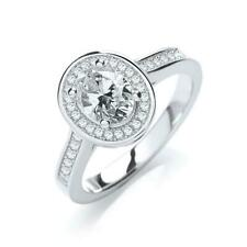 Zirconia Halo Design Solitaire Lucia Ring Jjaz 925 Sterling Silver Clear Cubic
