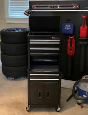 Black 5-Drawer Rolling Tool Chest + Cabinet Combo W/ Riser Storage Organizer
