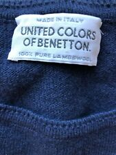 Vtg United colors Benetton sweater Pullover M 40 blue lambswool Italy Crewneck