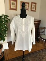 DKNY M White Cotton Mandarin Collar long Sleeve Peasant Boho Tunic Shirt  Beads