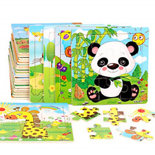 Wooden Jigsaw Puzzles for Kids Age 2 3 4 5 Toddler Puzzles Toys, Preschool Set 6