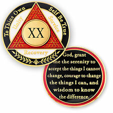 AA coin 20 year, Red White Black, anniversary recovery alcoholics anonymous