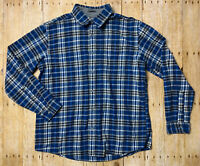 Men's Eddie Bauer Relaxed Fit Blue Plaid Flannel Shirt Long Sleeve Collared EUC