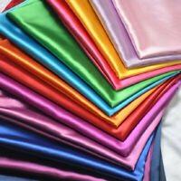 """Silky Satin Dress Craft Fabric Plain Luxury Wedding Material 41 Colours 60"""" Wide"""