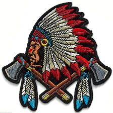 INDIAN CHIEF WITH HEADGEAR AND AXES -  IRON ON PATCH