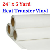 "24"" x 5Yard White Color Printable PU Heat Transfer Vinyl Roll for T-shirt Fabric"