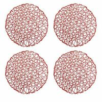 "15"" Red Holiday Metallic Decorative Woven Dinner Place mats (4 Piece Set) - Red"
