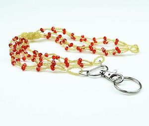 Colorful Braided Seed Beads Crystal Necklace LANYARD with key ring