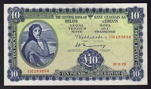 IRELAND P-66c. 1975 10 Pounds.. Lady Lavery..  gEF-aUNC