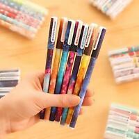 6pcs/set Starry Gel Pen Novel Gift Writting Stationery Colorful Ink Instrument