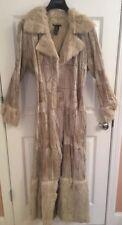 Bebe Womens Leather Coat Ivory White Real Rabbit Fur Long Jacket RARE Boho L