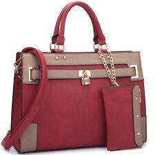New Dasein Womens Handbags Leather Satchels Tote Shoulder Bags Padlock Purse