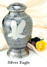 Silver Color, Adult Brass Eagle Funeral Cremation Urn w. Velvet Box, 225 Inches