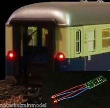Luce posteriore per vagoni  2 led rossi lampeggianti con basetta e già cablati