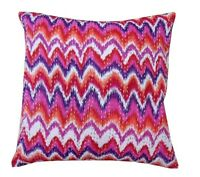"16"" INDIAN PINK CUSHION PILLOW COVER Kantha Thread Work Vintage Indian Cushion"