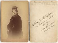 LADY IN FUR COAT + HAT BY MRS. LEWIS, GREENWICH, CONN., CABINET PHOTO